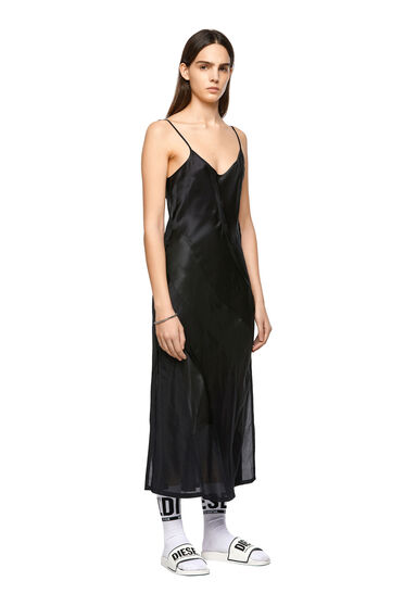 Langes Trägerkleid aus Seidenmischgewebe