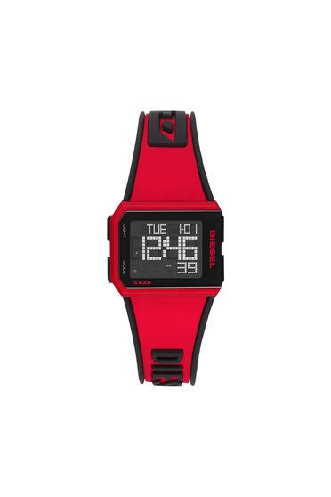 Chopped-Armbanduhr mit Digitalanzeige und rotem Silikonarmband