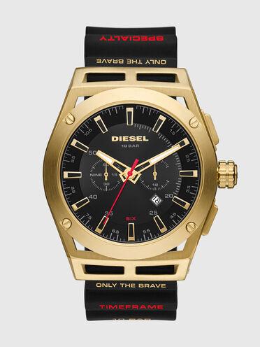 Timeframe-Armbanduhr mit Chronographen-Uhrwerk und schwarzem Silikonarmband