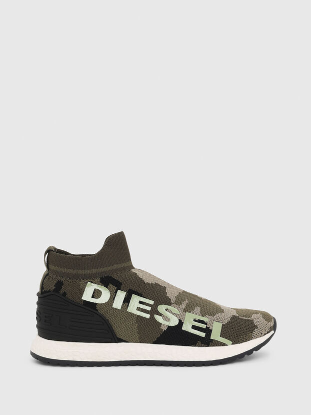 SLIP ON 03 LOW SOCK, Camouflagegrün - Schuhe