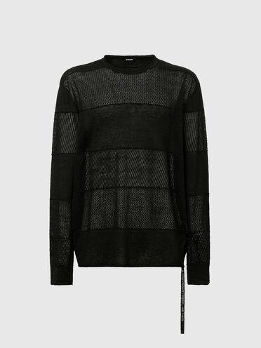 Pullover aus Jerseystrick und Panels mit Pointelle-Muster