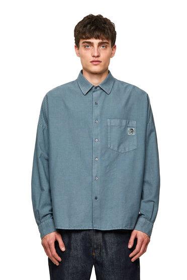 Gestreiftes Shirt aus behandelter Oxford-Baumwolle