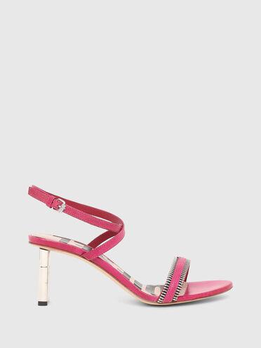 Halbhohe Sandaletten aus Leder mit Waranledereffekt