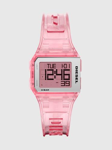 Chopped-Armbanduhr mit Digitalanzeige und Armband in transparentem Millennial-Rosa