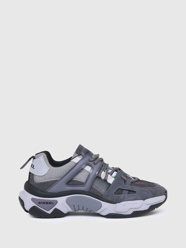 Sneaker aus schillerndem Nylon und Wildleder