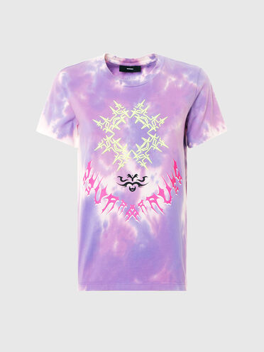 T-Shirt in Batikoptik mit Stickereien