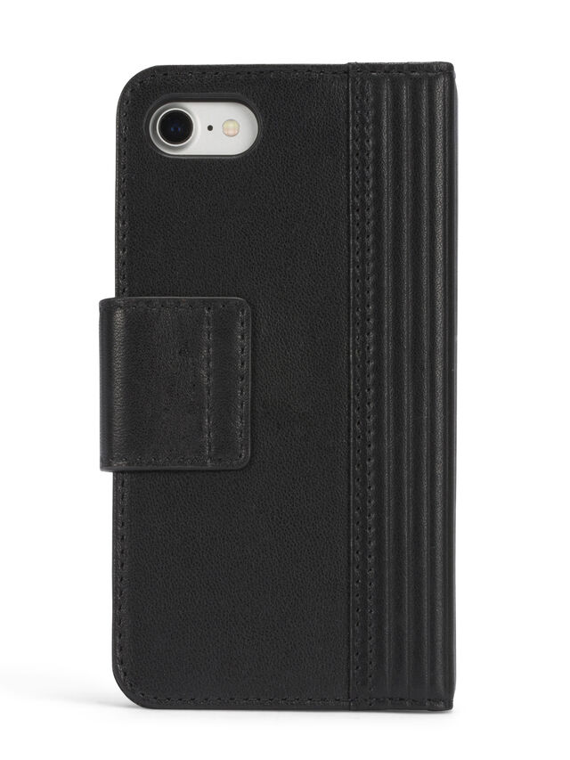 BLACK LINED LEATHER IPHONE X FOLIO, Schwarz